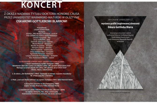 Koncert i wystawa towarzyszące nadaniu doktoratu honoris causa prof. Oskarowi Gottliebowi Blarrowi